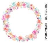 spring watercolor floral wreath | Shutterstock . vector #1034130589