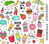 cute fun doodles seamless... | Shutterstock .eps vector #1034142007