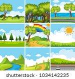 nine nature scenes with green... | Shutterstock .eps vector #1034142235