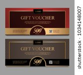 voucher template with gold and... | Shutterstock .eps vector #1034148007
