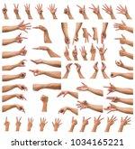 various gesture of men hand... | Shutterstock . vector #1034165221