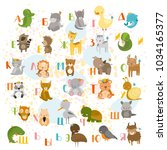 Stock vector vector russian alphabet with cute animals for children 1034165377