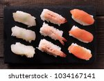 japanese sushi food selection... | Shutterstock . vector #1034167141