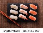 japanese sushi food various... | Shutterstock . vector #1034167159