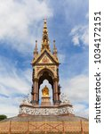 Small photo of Prince Albert Memorial, Kensington Gardens, London, United Kingdom. It was commissioned by Queen Victoria in memory of her husband, opened in July 1872