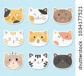 cute cats face stickers pack.... | Shutterstock .eps vector #1034177521