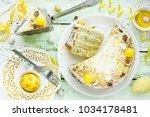 mimosa cake   lemon poppy seeds ...   Shutterstock . vector #1034178481