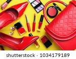 overhead view of essential... | Shutterstock . vector #1034179189
