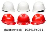 yellow hard hat safety helmet... | Shutterstock . vector #1034196061