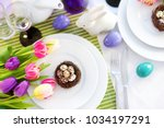 beautiful table setting with... | Shutterstock . vector #1034197291