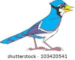 happy blue jay bird illustration | Shutterstock .eps vector #103420541