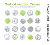 trees top view. different... | Shutterstock .eps vector #1034209429