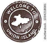 union island map vintage brown... | Shutterstock .eps vector #1034218081