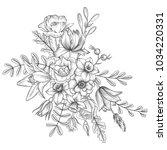 vintage vector floral... | Shutterstock .eps vector #1034220331