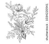 vintage vector floral... | Shutterstock .eps vector #1034220541