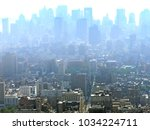 panoramic high angle view of... | Shutterstock . vector #1034224711