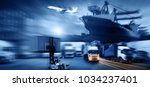 container ship in import export ... | Shutterstock . vector #1034237401