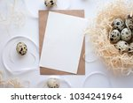 easter eggs  ribbons and nest... | Shutterstock . vector #1034241964