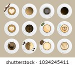 coffe cup top view realistic... | Shutterstock .eps vector #1034245411