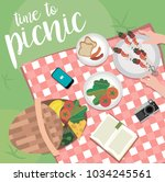 summer picnic in meadow with... | Shutterstock .eps vector #1034245561