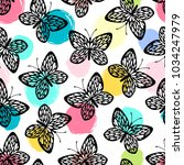 Stock vector seamless pattern with butterflies 1034247979