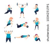 men does exercises and pumps... | Shutterstock .eps vector #1034251591
