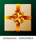 wrapped gift box with gold...   Shutterstock . vector #1034256814