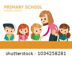 school class with pupils and... | Shutterstock .eps vector #1034258281