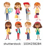 vector set with cute kids. ... | Shutterstock .eps vector #1034258284