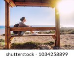 young woman travel girl with... | Shutterstock . vector #1034258899