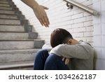 depressed man sit in... | Shutterstock . vector #1034262187