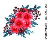 watercolor chrysanthemum... | Shutterstock . vector #1034268151