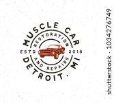 vintage muscle car garage logo. ... | Shutterstock .eps vector #1034276749