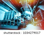 equipment  cables and piping as ... | Shutterstock . vector #1034279017