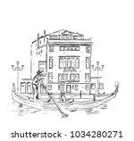 venetian gondolier and building ... | Shutterstock .eps vector #1034280271