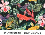 tropical seamless vector floral ... | Shutterstock .eps vector #1034281471