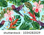 tropical floral summer seamless ... | Shutterstock .eps vector #1034282029