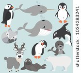 artic animals cartoon collection | Shutterstock .eps vector #1034283241
