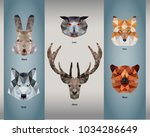 animal logos in poly low style | Shutterstock .eps vector #1034286649
