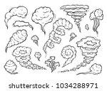smoke clouds vector set. hand... | Shutterstock .eps vector #1034288971