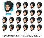 the third set of muslim woman... | Shutterstock .eps vector #1034295319