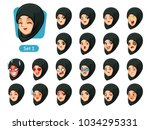 the first set of muslim woman... | Shutterstock .eps vector #1034295331