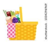 wicker picnic basket. flat... | Shutterstock .eps vector #1034296969