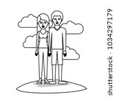couple monochrome scene outdoor ... | Shutterstock .eps vector #1034297179