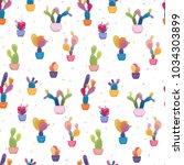 potted cacti houseplants... | Shutterstock .eps vector #1034303899