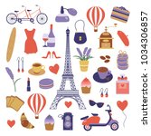 paris icon set. eiffel tower ... | Shutterstock .eps vector #1034306857