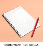 Open page notebook and pencil. - stock photo