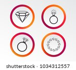 rings icons. jewelry with shine ... | Shutterstock .eps vector #1034312557