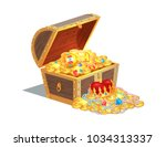 wooden chest full of ancient... | Shutterstock .eps vector #1034313337
