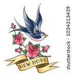 tattoo of a swallow with banner ... | Shutterstock .eps vector #1034313439